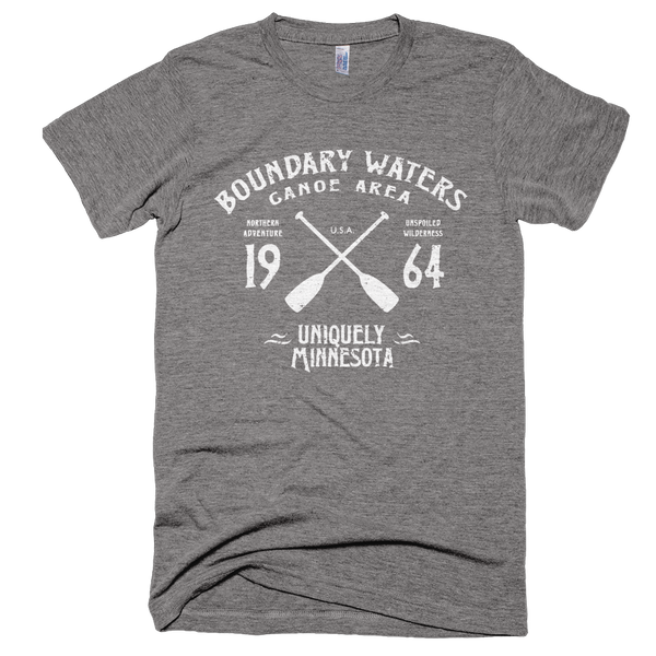 Boundary Waters MN vintage style men's shirt in athletic grey with white logo.