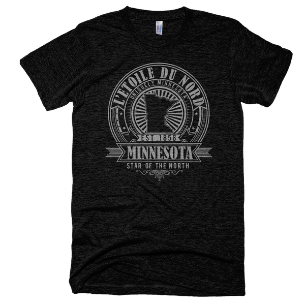 Minnesota L'etoile du Nord state motto seal men's shirt on tri-black shirt with grey logo.