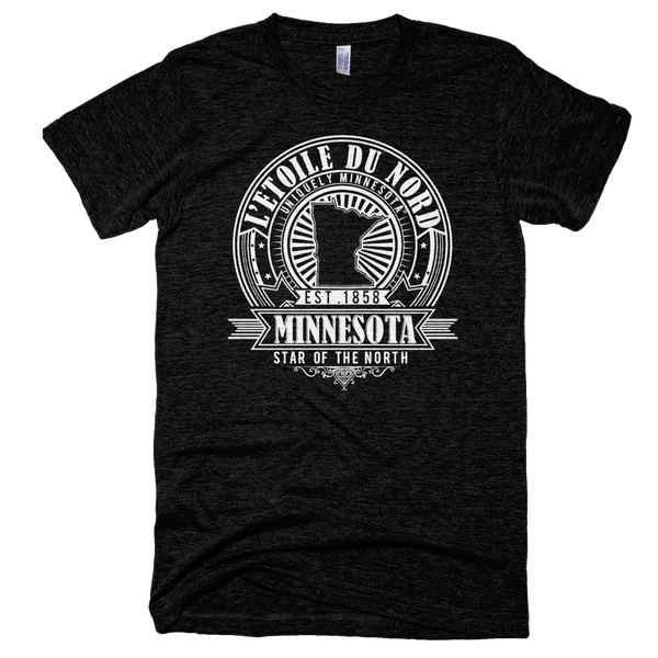 Minnesota L'etoile du Nord state motto seal men's shirt on tri-black shirt with white logo.