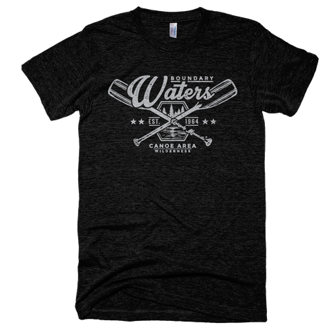 Men's black Boundary Waters crossed-paddle shirt with white distressed design in super soft American Apparel tri-blend.