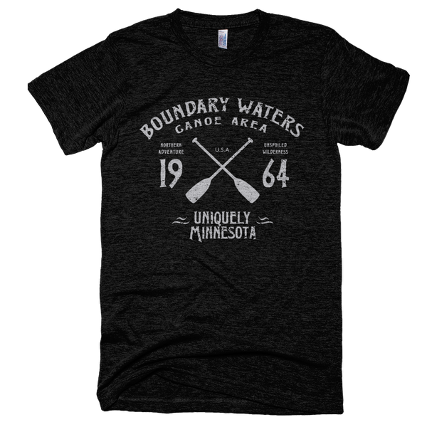 Boundary Waters MN vintage style men's shirt in tri-black with grey logo.