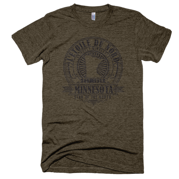 Minnesota L'etoile du Nord state motto seal men's shirt on tri-coffee shirt with black logo.
