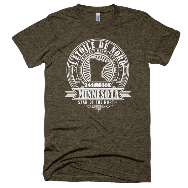Minnesota L'etoile du Nord state motto seal men's shirt on tri-coffee shirt with white logo.