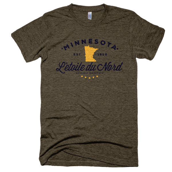 Men's Minnesota L'etoile du Nord state motto logo shirt on tri-coffee shirt with black logo.