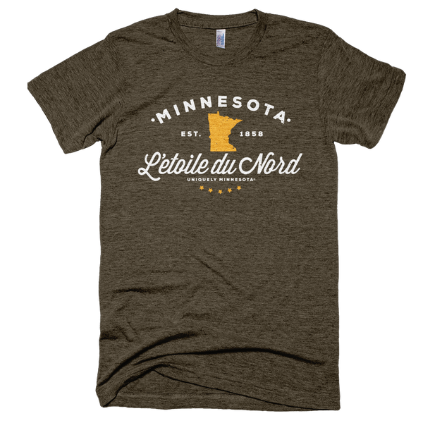 Men's Minnesota L'etoile du Nord state motto logo shirt on tri-coffee shirt with white logo.