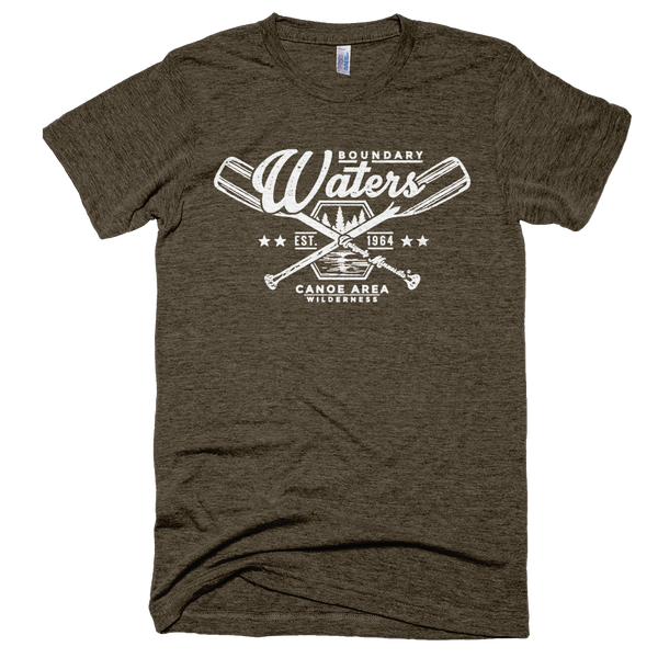 Men's tri-coffee Boundary Waters crossed-paddle shirt with white distressed design in soft American Apparel tri-blend.