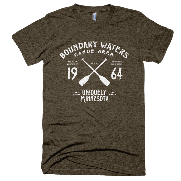 Boundary Waters MN vintage style men's shirt in tri-coffee with white logo.