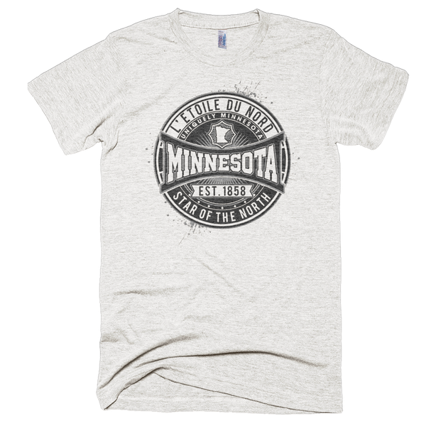 "Minnesota L'etoile du Nord ""Star of the North"" men's shirt in tri-oatmeal with black logo."
