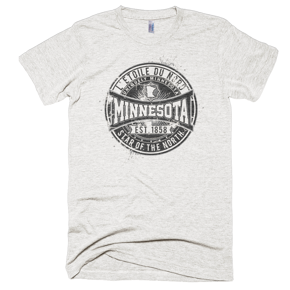 Minnesota L'etoile du Nord state motto men's shirt on super soft tri-oatmeal shirt with black logo.