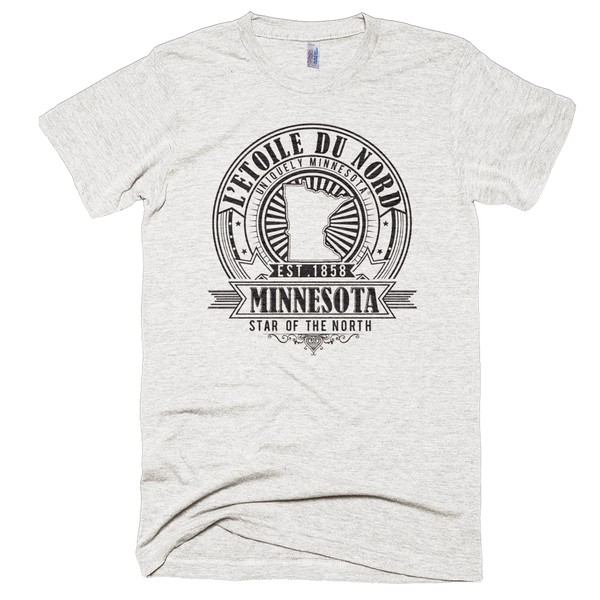 Minnesota L'etoile du Nord state motto seal men's shirt on tri-oatmeal shirt with black logo.