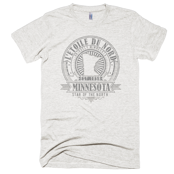 Minnesota L'etoile du Nord state motto seal men's shirt on tri-oatmeal shirt with grey logo.
