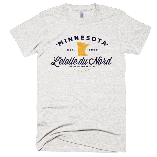 Men's Minnesota L'etoile du Nord state motto logo shirt on tri-oatmeal shirt with black logo.