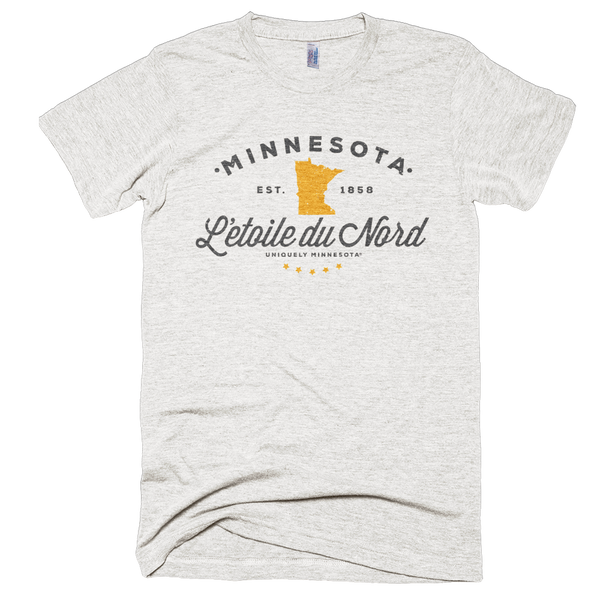 Men's Minnesota L'etoile du Nord state motto logo shirt on tri-oatmeal shirt with grey logo.