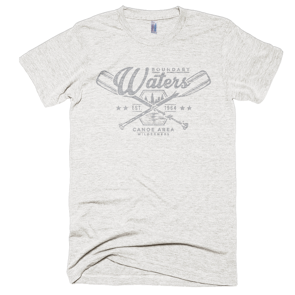 Men's tri-oatmeal Boundary Waters crossed-paddle shirt with grey distressed design in soft American Apparel tri-blend.