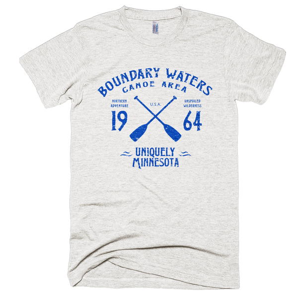 Boundary Waters MN vintage style men's shirt in tri-oatmeal with blue logo.
