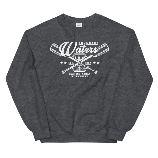 Men's Boundary Waters (BWCAW) MN crossed-paddles distressed logo sweatshirt in dark heather with white logo.