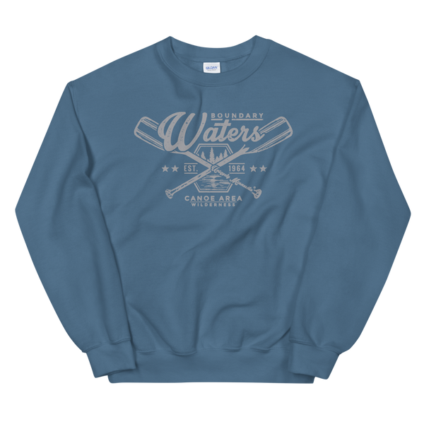 Men's Boundary Waters (BWCAW) MN crossed-paddles distressed logo sweatshirt in indigo blue with grey logo.