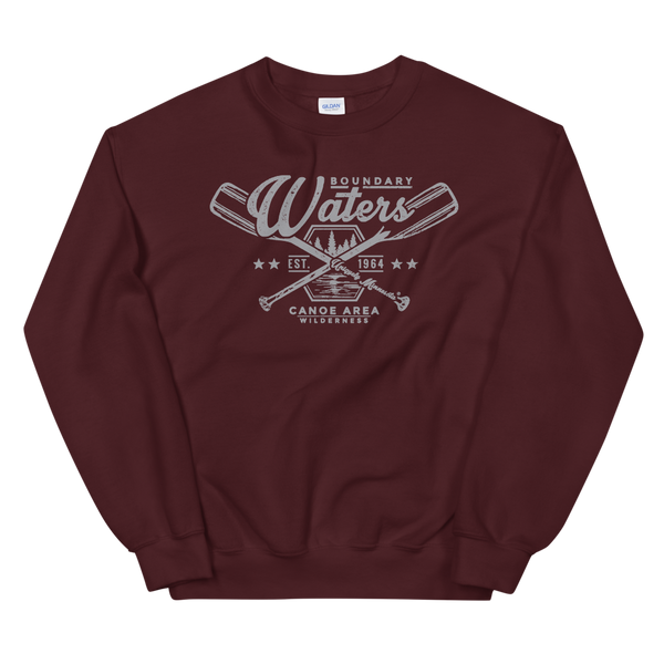 Men's Boundary Waters (BWCAW) MN crossed-paddles distressed logo sweatshirt in maroon with grey logo.