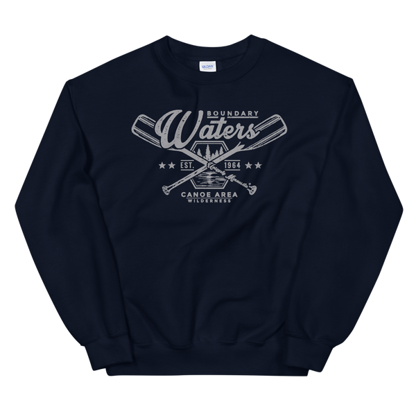 Men's Boundary Waters (BWCAW) MN crossed-paddles distressed logo sweatshirt in navy with grey logo.