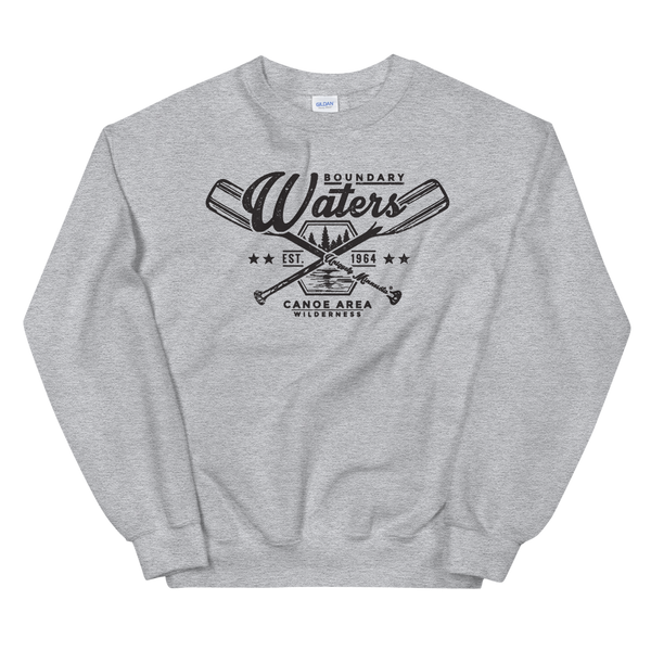 Men's Boundary Waters (BWCAW) MN crossed-paddles distressed logo sweatshirt in sport gray with black logo.