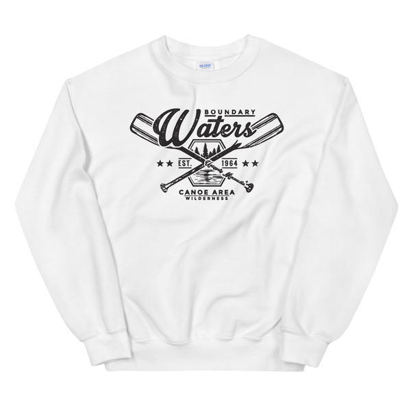 Men's Boundary Waters (BWCAW) MN crossed-paddles distressed logo sweatshirt in white with black logo.
