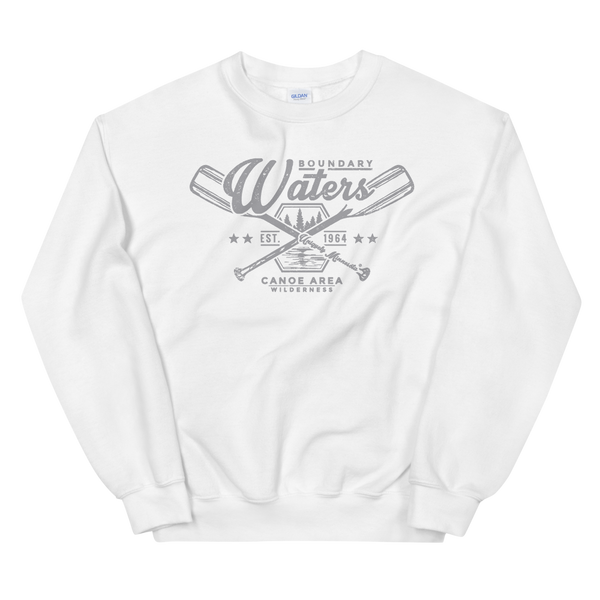 Men's Boundary Waters (BWCAW) MN crossed-paddles distressed logo sweatshirt in white with grey logo.