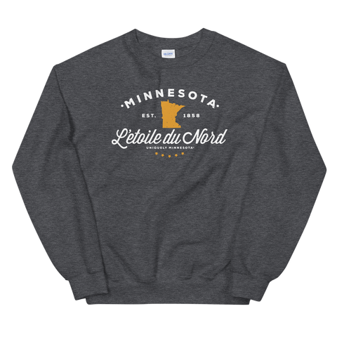 Men's Minnesota L'etoile du Nord state motto logo sweatshirt on dark heather with white logo.