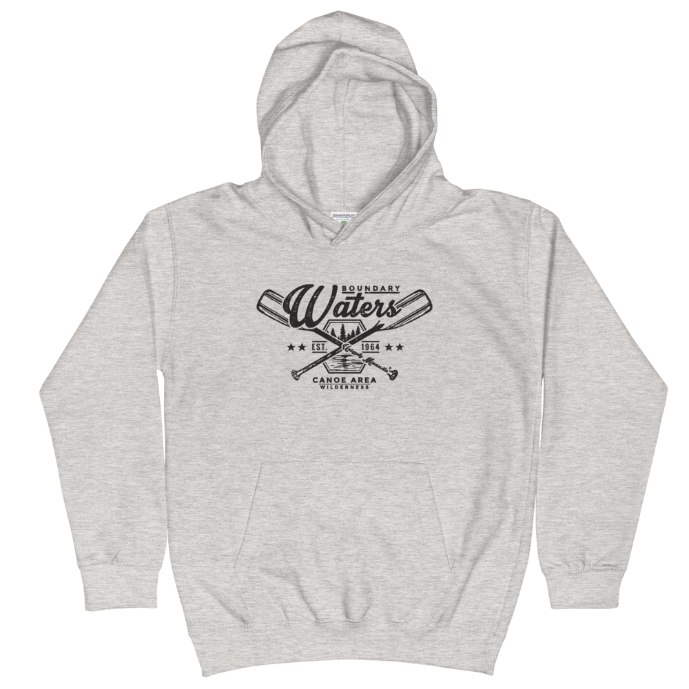 Youth and Kids Boundary Waters Canoe Area (BWCAW) Series hoodie in heather grey with black logo.