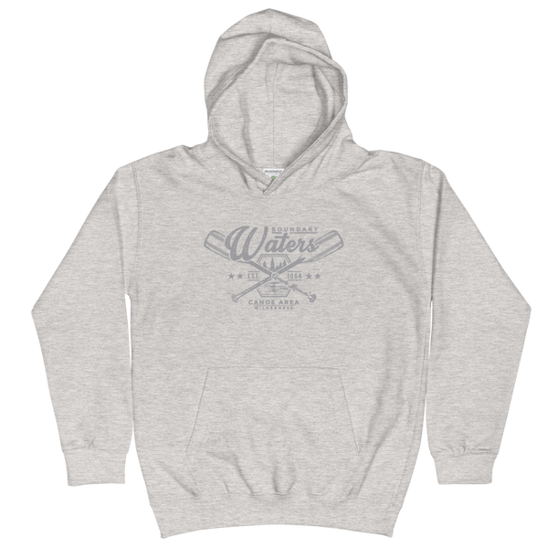 Youth and Kids Boundary Waters Canoe Area (BWCAW) Series hoodie in heather grey with grey logo.