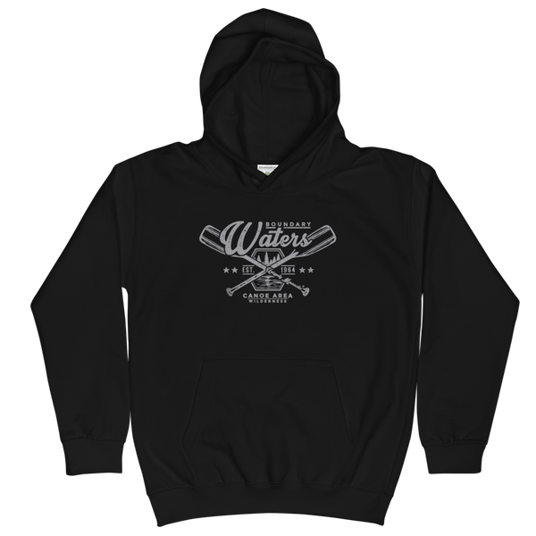 Youth and Kids Boundary Waters Canoe Area (BWCAW) Series hoodie in jet black with grey logo.