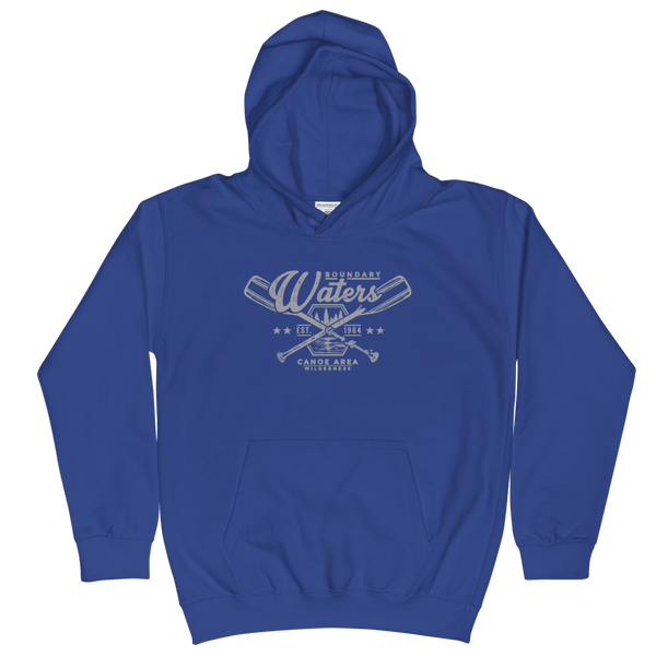 Youth and Kids Boundary Waters Canoe Area (BWCAW) Series hoodie in royal blue with grey logo.