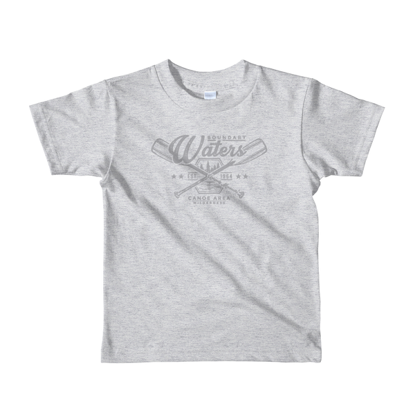 Kids Minnesota Boundary Waters Canoe Area (BWCA) 100% cotton t-shirt in heather grey with grey logo.
