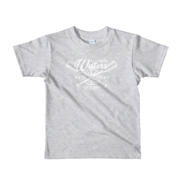 Kids Minnesota Boundary Waters Canoe Area (BWCA) 100% cotton t-shirt in heather grey with white logo.
