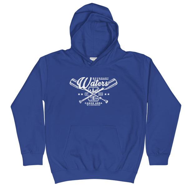 Youth and Kids Boundary Waters Canoe Area (BWCAW) Series hoodie in royal blue with white logo.