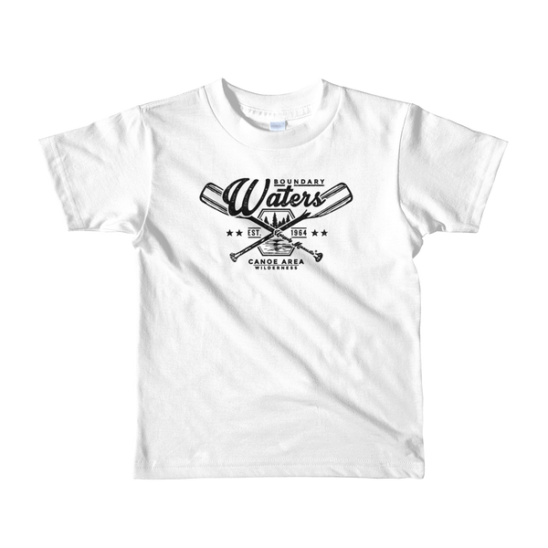 Kids Minnesota Boundary Waters Canoe Area (BWCA) 100% cotton t-shirt in white with black logo.