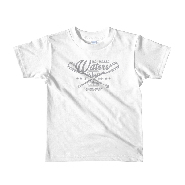 Kids Minnesota Boundary Waters Canoe Area (BWCA) 100% cotton t-shirt in white with grey logo.