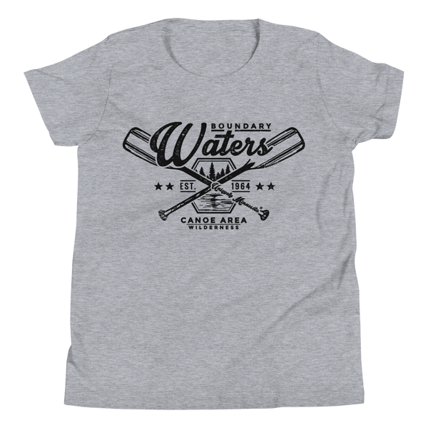 Youth Minnesota Boundary Waters Canoe Area (BWCAW) crossed-paddles cotton t-shirt in athletic heater with black logo.