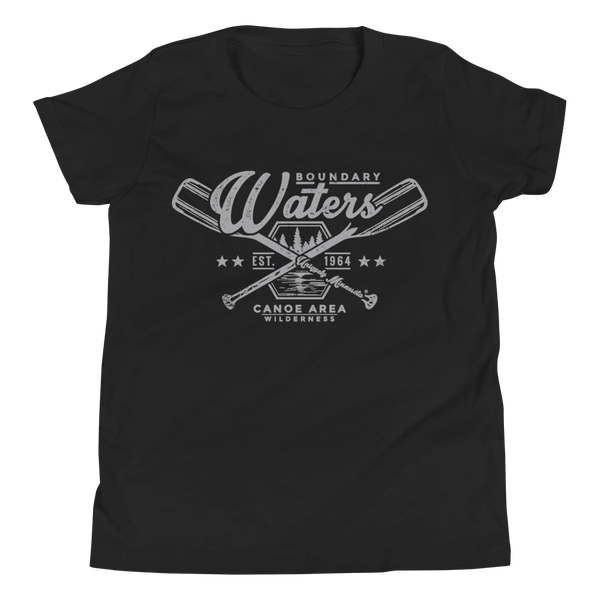 Youth Minnesota Boundary Waters Canoe Area (BWCAW) crossed-paddles cotton t-shirt in black with grey logo.