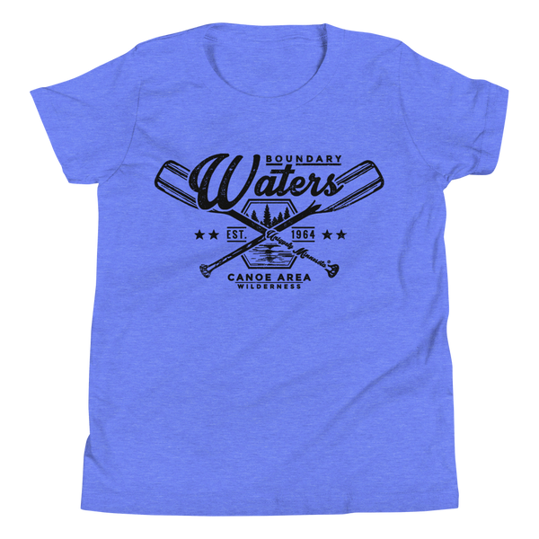 Youth Minnesota Boundary Waters Canoe Area (BWCAW) crossed-paddles cotton t-shirt in heather columbia blue with black logo.
