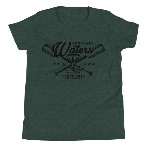 Youth Minnesota Boundary Waters Canoe Area (BWCAW) crossed-paddles cotton t-shirt in heather forest with black logo.
