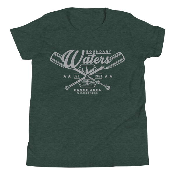 Youth Minnesota Boundary Waters Canoe Area (BWCAW) crossed-paddles cotton t-shirt in heather forest with grey logo.