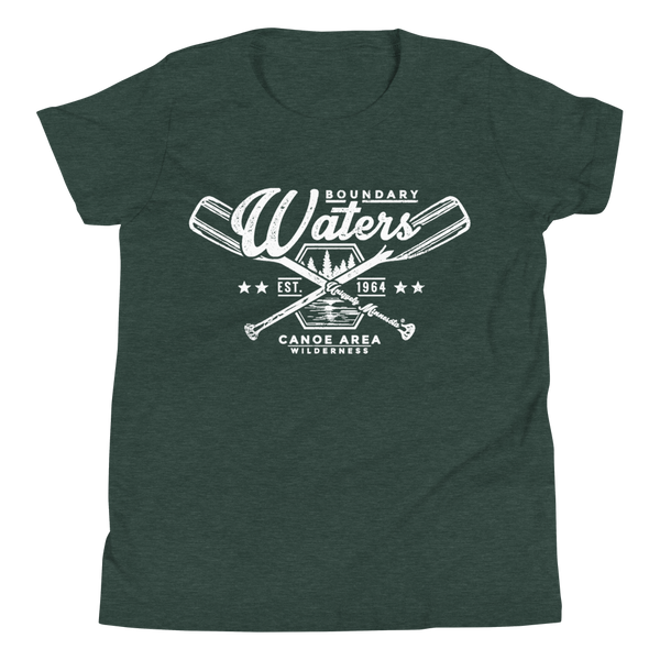 Youth Minnesota Boundary Waters Canoe Area (BWCAW) crossed-paddles cotton t-shirt in heather forest with white logo.