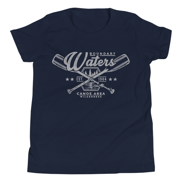 Youth Minnesota Boundary Waters Canoe Area (BWCAW) crossed-paddles cotton t-shirt in navy with grey logo.