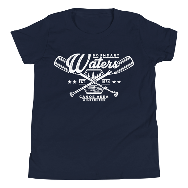 Youth Minnesota Boundary Waters Canoe Area (BWCAW) crossed-paddles cotton t-shirt in navy with white logo.
