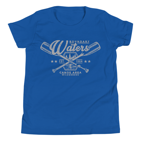 Youth Minnesota Boundary Waters Canoe Area (BWCAW) crossed-paddles cotton t-shirt in true royal with grey logo.