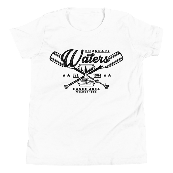 Youth Minnesota Boundary Waters Canoe Area (BWCAW) crossed-paddles cotton t-shirt in white with black logo.
