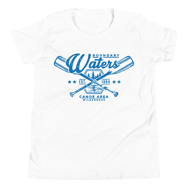 Youth Minnesota Boundary Waters Canoe Area (BWCAW) crossed-paddles cotton t-shirt in white with blue logo.