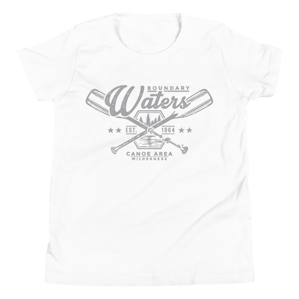 Youth Minnesota Boundary Waters Canoe Area (BWCAW) crossed-paddles cotton t-shirt in white with grey logo.