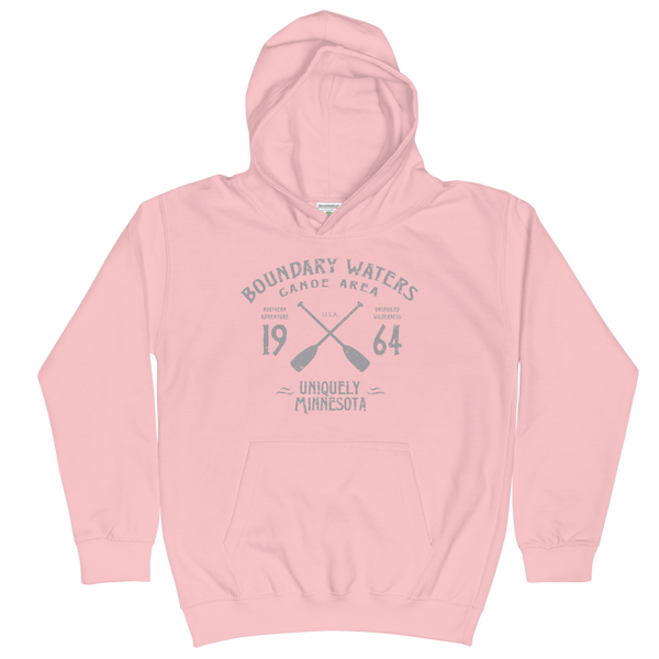 Boundary Waters Canoe Area Minnesota kids and youth hoodie in baby pink cotton blend with grey BWCAW MN crossed-paddles logo.