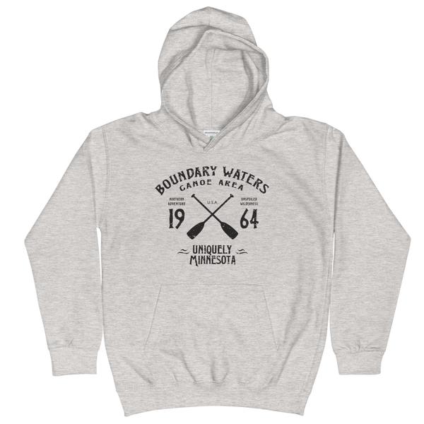 Boundary Waters Canoe Area Minnesota kids and youth hoodie in heather grey cotton blend with black BWCAW MN crossed-paddles logo.